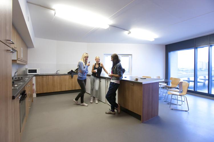 Общая кухня в студенческой резиденции при Embassy Summer, London Docklands