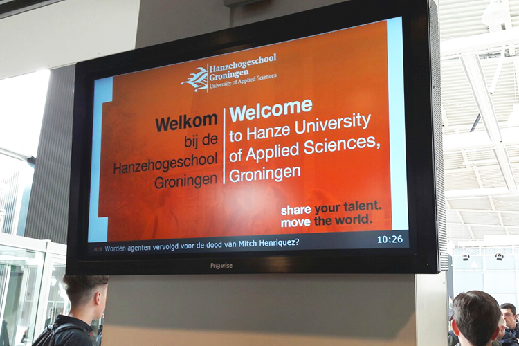 Приветственное табло Hanze University of Applied Sciences