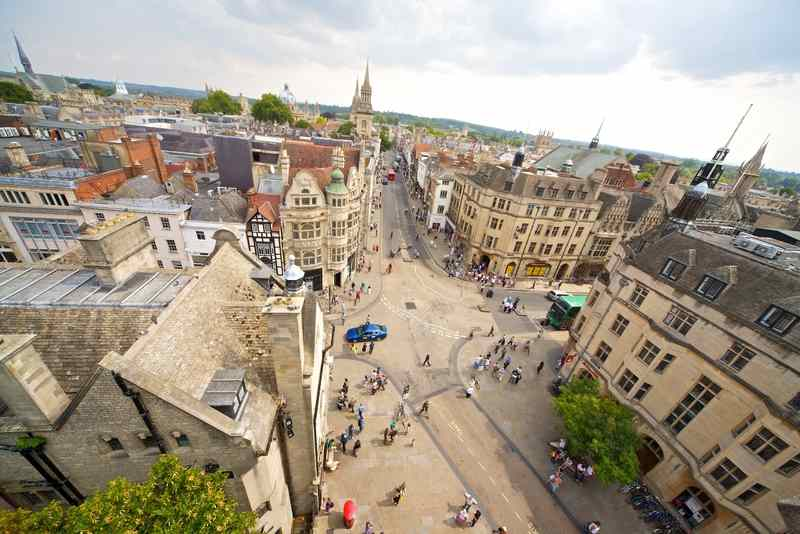 Вид сверху на Kings Colleges, Oxford